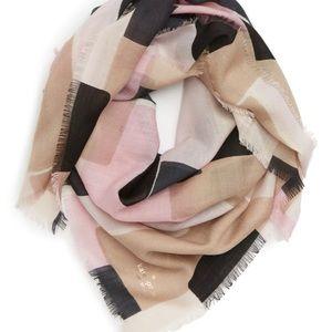 Kate Spade empire geo wool scarf pink tan squares